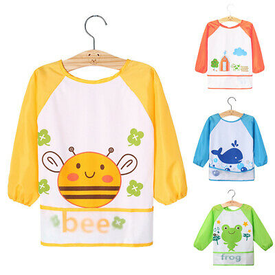 Cute Baby Bibs Infant Long Sleeve Waterproof Feeding Smock Children Bib Toddler