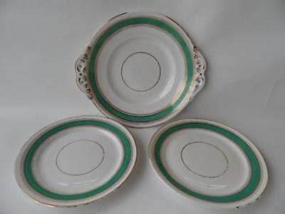 Set X 3 Antique Victorian Large  Plate Dish  And Side Plates Green Gold Pattern