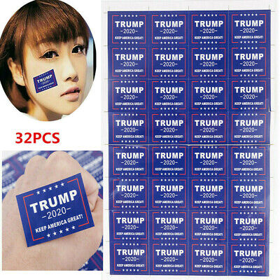 32Pcs 2020 President Donald Trump Keep America Great Face Clothes Body Sticker