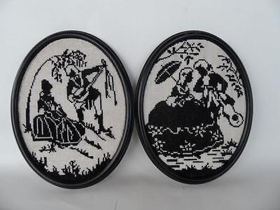 2 X Vintage Frame Black White Silhouette Couple Figures Needlepoint Tapestry