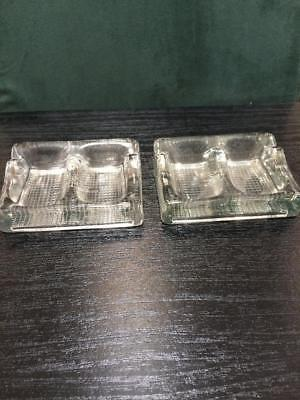 2 X Antique Vintage Made In England Double Inkwell Glass Inkwells