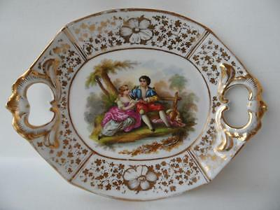 Antique 1850s Paris porcelain Hand Paint & with Gold French couple platter tray