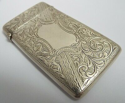 Superb Clean Decorative English Antique Edwardian 1902 Sterling Silver Card Case