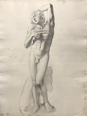 19Th Century French Realist Atelier Academie Drawing - Male Nude Antiquity