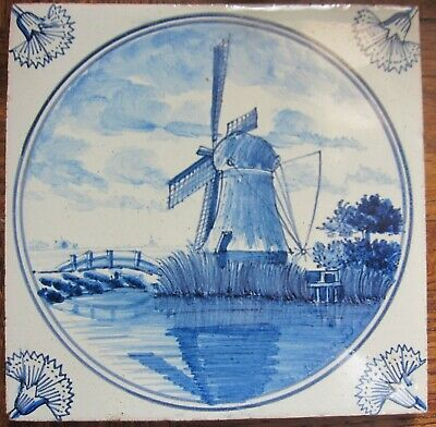 Antique Dutch Delft tile with windmill - 19th century