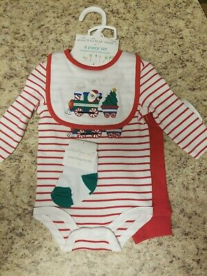 NWT Starting Out Boys Santa Christmas Outfit 4 Pcs Set Bodysuit Pant Bib Socks