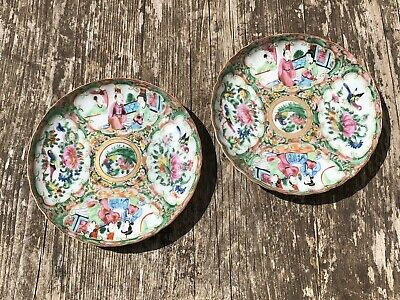 Antique Late 19th Century Chinese / Cantonese Porcelain Pair of Saucers