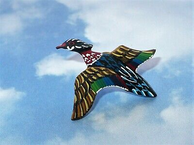 Vtg 1984 Carved Wood Miniature Duck? Signed B&B Tack Lapel Pin Vgc