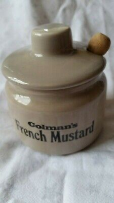 """Vintage """"Colman's French Mustard"""" Pot With Lid & Wooden Spoon"""