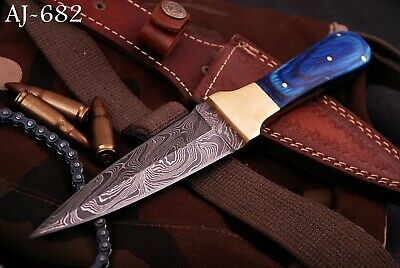 Hand Forged Damascus Steel Boot Dagger Hunting Knife- Wood & Bras Handle- Aj 682