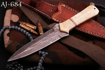 Hand Forged Damascus Steel Boot Hunting Knife- Horn & Bras Handle- Aj 684