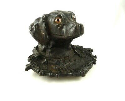 Antique Cast Iron Figural Dog Inkwell Glass Eyes C 1875 Hunting Dog Retriever