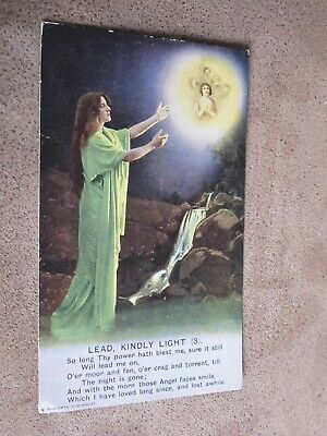 Early Bamforth Song series postcard - Lead Kindly Light - 3 - Religious theme
