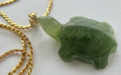 """Vintage Chinese Jade Hand Carved 3D Turtle Pendant Necklace 18"""" Gold Plate Chain"""