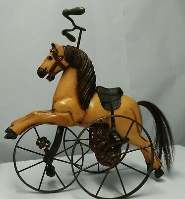 Antique Hand Carved Wooden Horse on a Metal Tricycle Toy Leather Saddle