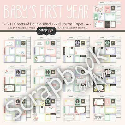 Scrapbook Customs Paper Pack Baby Girl First Months Kit 13pc