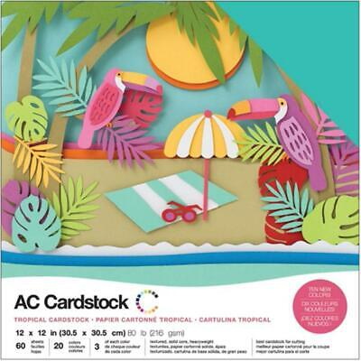 "American Crafts 12x12"" Cardstock Pack Tropical     215gsm, 60pk"