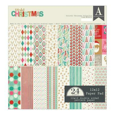 "Authentique Colorful Christmas 12x12"" Paper Pad  24pg"