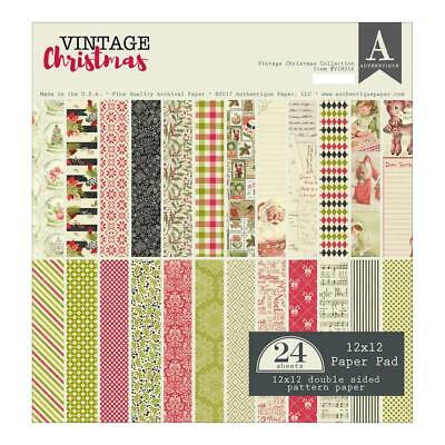 "Authentique Vintage Christmas 12x12"" Paper Pad  24pg"