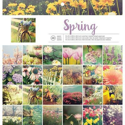 "American Crafts Photo Real Paper Pad Spring  12x12"", 48pg"