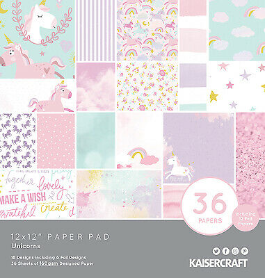 "Kaisercraft 12"" Paper Pad Unicorns  36pg"