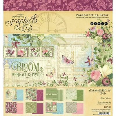 "Graphic 45 Bloom 8"" Paper Pad  24pg, Double Sided"