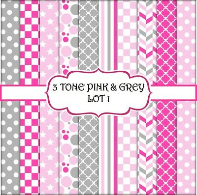 3 TONE PINK & GREY SCRAPBOOK PAPER - LOT 1 - 10 x A4 pages