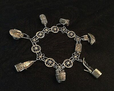 Vintage Antique Silver Charm Bracelet - 7 Asian Theme Intricate Charms - China