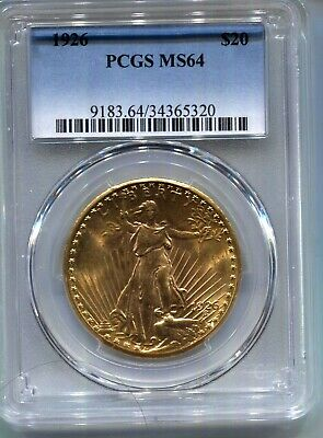 1926  $20 Saint-Gaudens Gold  Borderline Gem Bu - Pcgs Ms64 - Looks Better