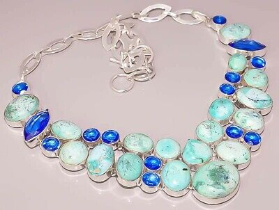Natural Tibetan Turquoise London Topaz 925 Sterling Silver Plated Necklace
