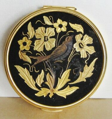 Vintage Russian Metal Powder Box With Mirror Etched Flowers & Bird Gold Tone