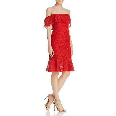 BCBG Max Azria Womens Meilani White Lace Colorblock Cocktail Dress S BHFO 7403