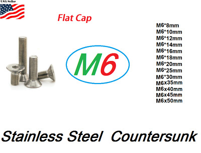 M6 metric 8mm to 50mm Hex bolt Flat head Stainless Steel Allen Screw Countersunk