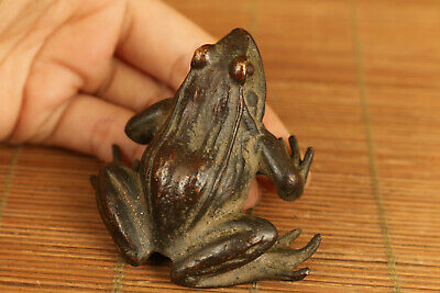 Tea Pet chinese old bronze hand carved frog statue figure collectable table deco