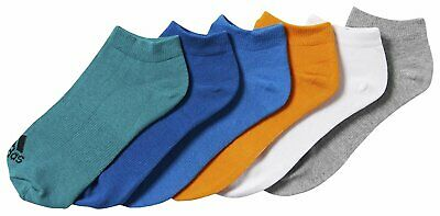 adidas 6-Pack No Show Trainer Liner Ankle Socks Boy's Junior Sizes 9.5K-5 Cotton