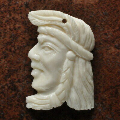 Hand Carved Native American Natural Buffalo Bone Pendant Bead 42X26X5Mm