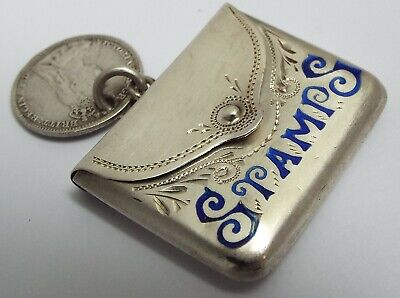 Lovely Rare English Antique 1915 Solid Sterling Silver & Blue Enamel Stamp Case