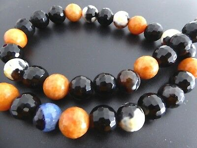 Precious Stone Necklace Agate round Length Approx. 46 cm Mexican Agate