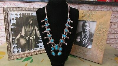 Rare Vintage Navajo Morenci Turquoise Sterling Silver Squash Blossom Necklace