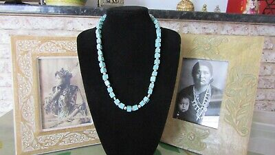 RARE VINTAGE NAVAJO MORENCI TURQUOISE STERLING SILVER NECKLACE 73,8grm.