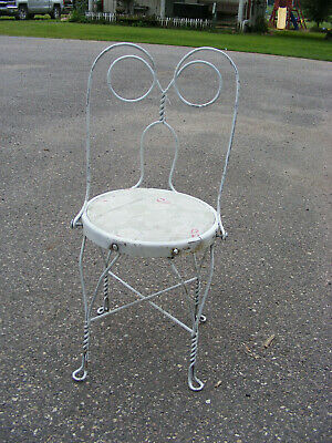 Vintage Ice Cream Parlor Chair Stool Twisted Metal Wood Seat Industrial Old