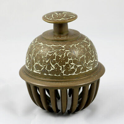 Antique Indian Brass Elephants Claw Bell. Temple. Decorative. Paperweight! Heavy