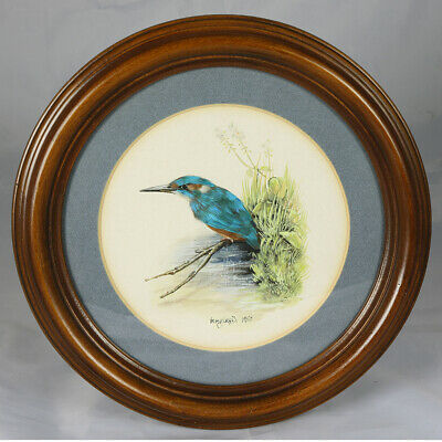 Unusual Featherwork & Watercolour Painting - Kingfisher. Birds. Signed. Vintage