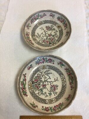 "2 Antique Mintons England Small 6"" Bowls Indian Tree Pattern"