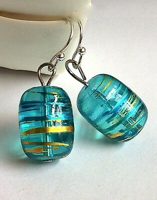 Silver Murano Style Aqua Glass Earrings Dangle Bead Hand Painted Gold Plated USA