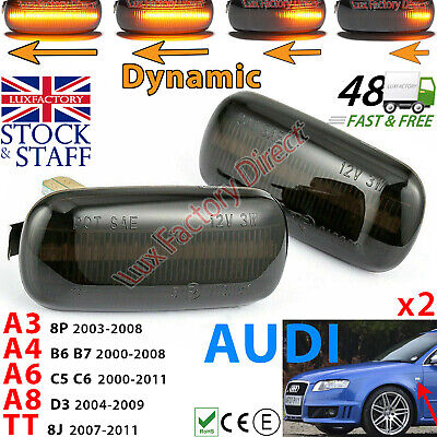 2x Audi A3 S3 8P A4 A6 Dynamic LED Sequential Side Indicator Smoked LUXFACTORY