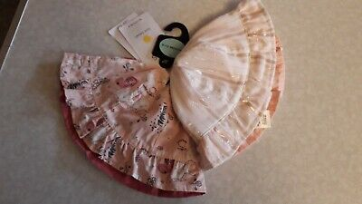 M&S' Kids' Pack Of 2 X Girls Reversible Sun Hats Age 6-12 Months Bnwt