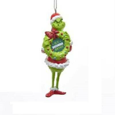 Kurt Adler Christmas Ornament The Grinch Holding A Wreath Is It Dec 26th NEW