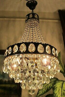 Antique Vintage French Basket Style Crystal Chandelier Lamp Light 1960's.14 in..