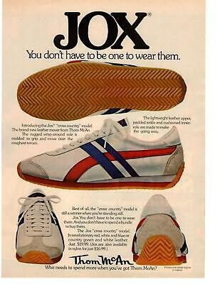 """1976 Jox Tennis Shoes """"Cross Country"""" Model $19.99 Thom McAn Shoe Store Print Ad"""
